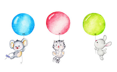 Mouse, kitten and bunny  flying on balloons