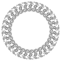 Round frame with outline seahorses