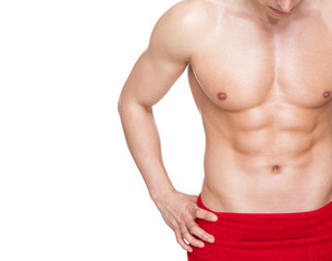 Image of a fitness man covered with red towel, isolated on white