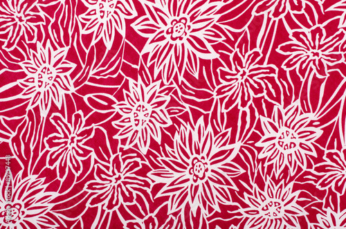 Floral Pattern On White Fabric Graphic Big Red Flower Print As Background Stock Photo And Royalty Free Images Fotolia