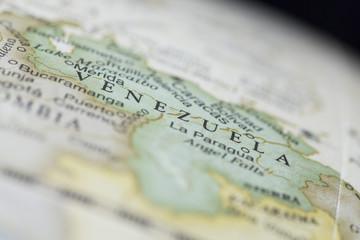 Macro of Venezuela on a globe