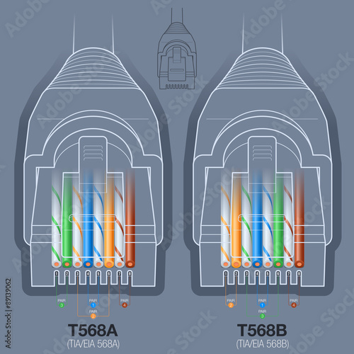 Rj45 Network Connector T568at568b Wiring Diagram Stock Image And