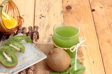 Kiwi fruit juicy green and kiwi juice delicious.