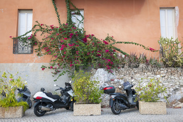 Scooters on street in Villefranche-sur-Mer