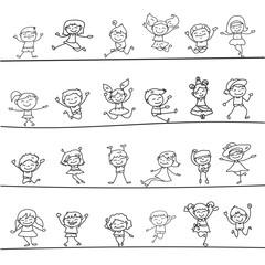 happy kids hand drawing cartoon character