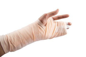 Woman hand bone broken from accident emergency