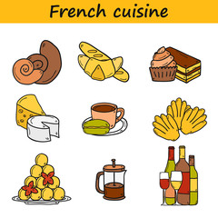 Set of cartoon cute hand drawn icons on french cuisine theme