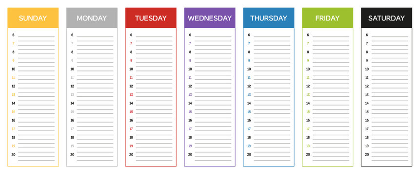 Week planning calendar in colors of the day