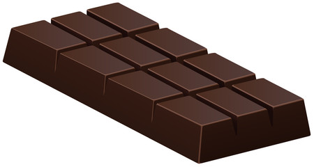 Dark chocolate bar on white