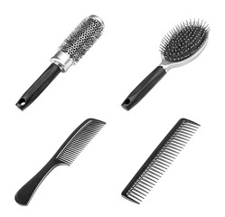 Set of different combs, barber comb, salon, comb hair, black com