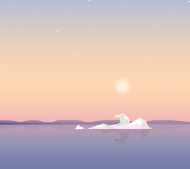 minimalistic contemporary touching global warming concept theme vector illustration wallpaper with lonely polar bear on a melting iceberg