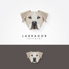 Labrador retriever polygonal geometric contemporary logo icon illustration for various purposes. Military, rescue, therapy, assistance dog breed