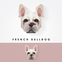 french bulldog head geometric polygonal logo icon