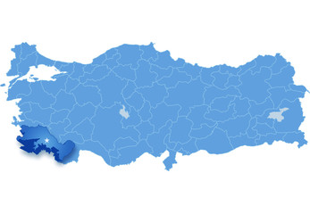 Map of Turkey, Mugla