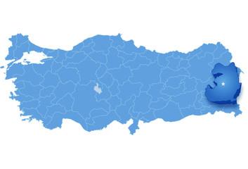 Map of Turkey, Van