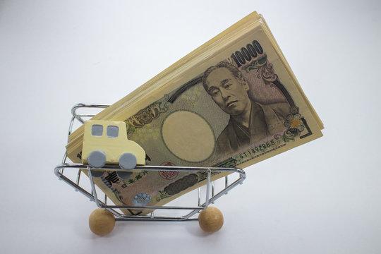 ショッピングカートの中の車とお金