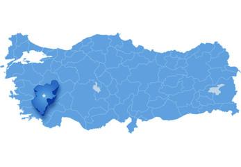 Map of Turkey, Denizli