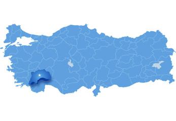 Map of Turkey , Burdur