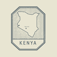 Stamp with the name and map of Kenya