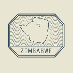 Stamp with the name and map of Zimbabwe