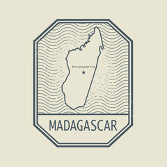 Stamp with the name and map of Madagascar