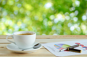 coffee cup with green natural background