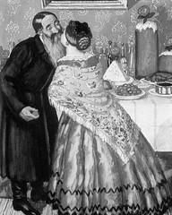 Paschal greeting (Hristosovanie), 1916, by Boris Kustodiev (1878-1927)