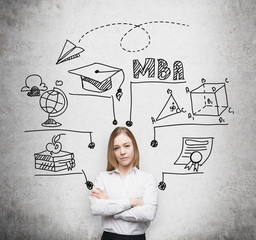 Young beautiful lady with crossed hands is going to get the master's degree in business administration. A concept of the MBA degree. Drawn educational icons on the concrete wall.
