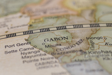 Macro globe map detail of Gabon