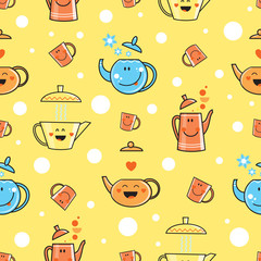Vector seamless pattern with cartoon ware. Anthropomorphous teapots and cups on  yellow background.