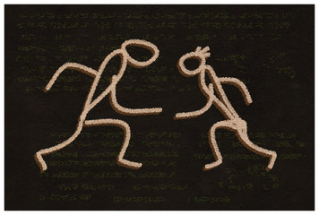 The Dance. Primitive handmade drawing.