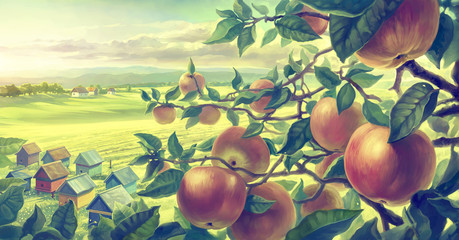 Summer landscape with apple branches. Digital paint.