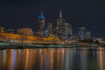 Night time, Melbourne city and flinders street station, Victoria, Australia.