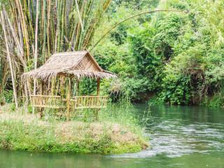 bamboo hut near the river
