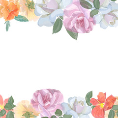 Watercolor greeting card with roses,  for  invitation or wedding