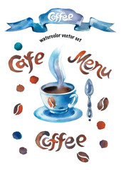 Coffee watercolor vector set
