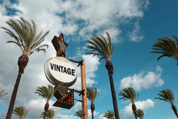 aged and worn vintage photo of vintage sign with palm trees