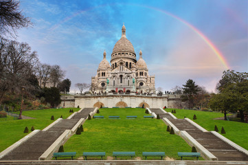 Sacre Coeur Basilica of Montmartre in Paris, France