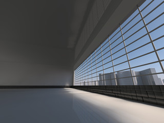 white loft with window to city 3D rendering