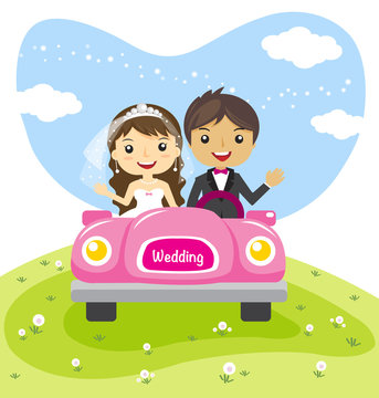 wedding couple in a car, cartoon married character design - vector illustration