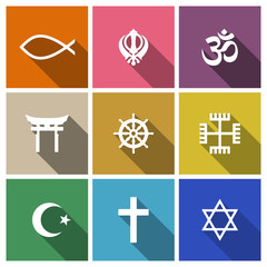 World religion symbols flat set