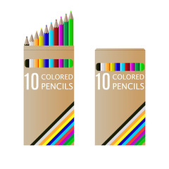 set of pencils on box