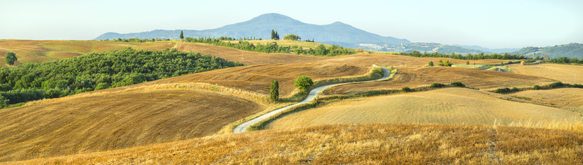 panorama landscape with fields and road in Tuscany in Italy