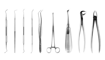 Set of dental tools isolated on white, with clipping path