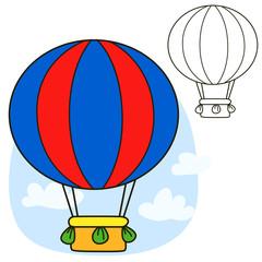 Air balloon. Coloring book page. Cartoon vector illustration.