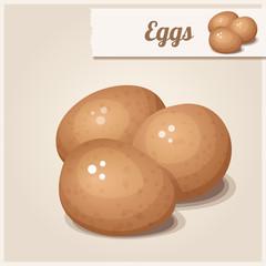 Detailed Icon. Three brown eggs.