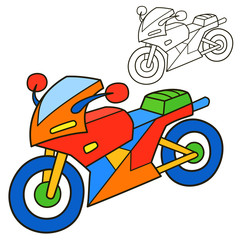 Motorcycle. Coloring book page. Cartoon vector illustration.
