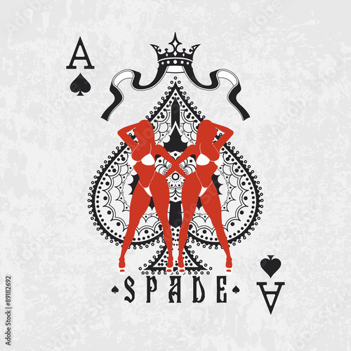 Ace Of Spades Symbol With Two Women In Bikinis Stock Image And