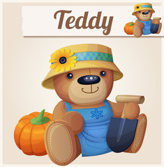 Teddy bear the Gardener (Farmer). Cartoon vector illustration