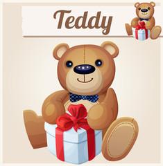 Teddy bear with gift box. Cartoon vector illustration. Series of